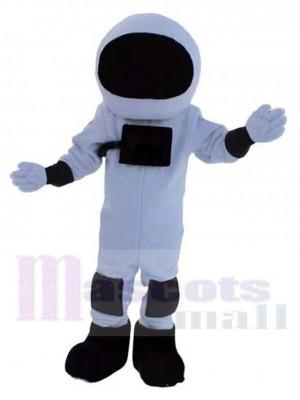 Astronaut Maskottchen Kostüm im schwarz-weißen Raumanzug Menschen