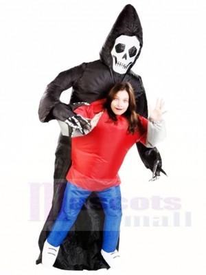 Grimmig Sensenmann Schädel Skelett Geist Aufblasbar Halloween Kostüme für Erwachsene