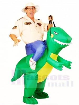 Grüner Dinosaurier Tragen Sie mich auf T-Rex Aufblasbare Halloween Weihnachten Kostüme für Erwachsene