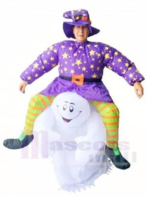 Teufel tragen mich Reiter auf Geist beängstigend aufblasbare Halloween Weihnachts kostüme für Erwachsene