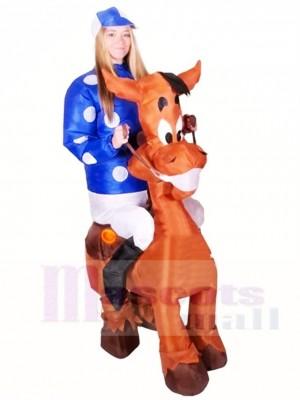 Reiten Sie auf Pferd sprengen Sie Jockey aufblasbares Halloween Weihnachten Kostüme für Erwachsene