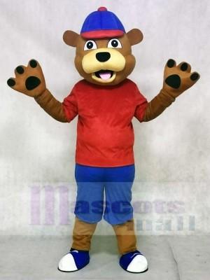 rot Weste glücklich Braun Bär Maskottchen Kostüme Tier