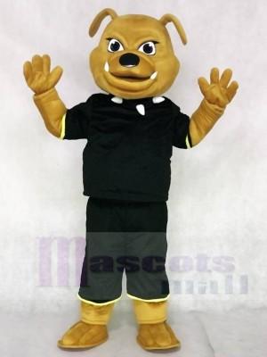 Braun Bulldogge mit schwarzen Anzug Maskottchen Kostümen