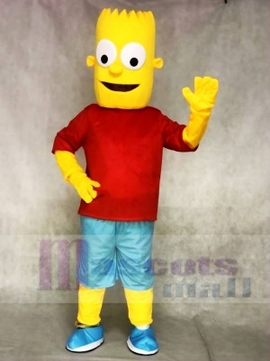 Rotes Hemd Bart Simpson Sohn Gelber Junge Maskottchen Kostüme Menschen
