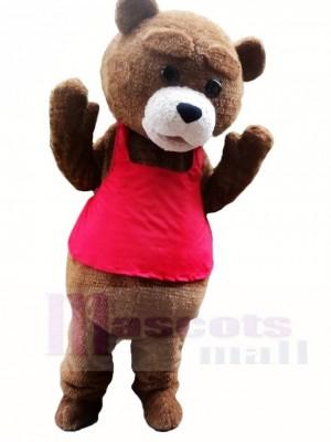 Braun Teddybär in den roten Weste Maskottchen Kostümen Tier