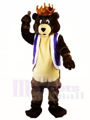 Dunkel Braun König Bär mit Krone Maskottchen Kostüme Tier
