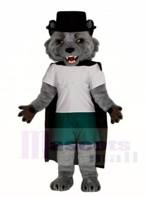 Grauer Wolf mit schwarzem Umhang Maskottchen kostüm Tier