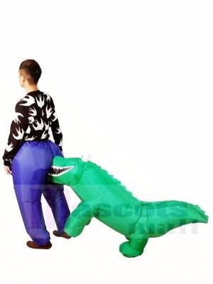 Tragen Beißender Alligator Krokodilbisse Aufblasbares Halloween Weihnachten Kostüme für Erwachsene