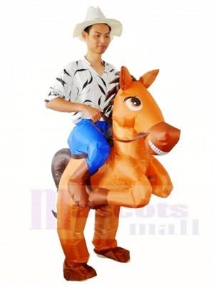 Braunes Pferd Tragen Sie mich auf Schlauchboot fahren Weihnachten Kostüme für Erwachsene