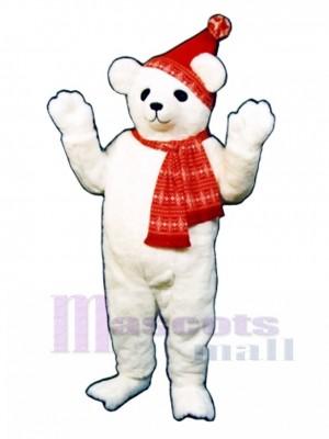 Schneebär mit Hut & Schal Maskottchen Kostüm