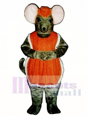 Oma Maus mit Brille, Hut und Schürze Maskottchen Kostüm