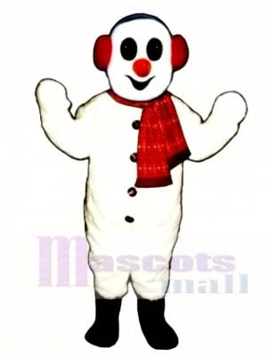 Schneemann mit Ohrenschützer und Schal Maskottchen Kostüm