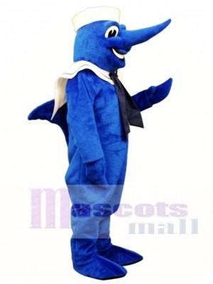 Netter Schwertfisch mit Hut und Kragen Maskottchen Kostüm Tier