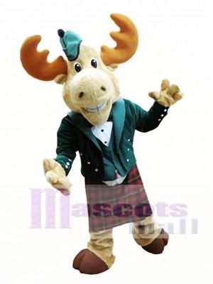 Stier Elch Maskottchen Kostüm Elch in Bellman Anzug Maskottchen Kostüm