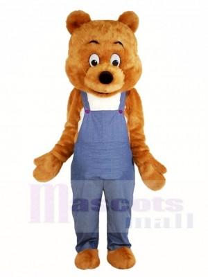 Braun Bär im Overall Maskottchen Kostüme Tier