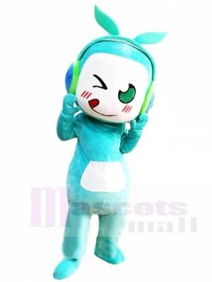Blauer Musik Junge mit Blatt Kopfhörer Maskottchen Kostüm Leuten