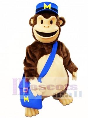 Karikatur Schimpanse mit Blau Hut Maskottchen Kostüme Tier