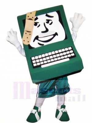 Grüner Computer mit Pflaster Maskottchen Kostüme