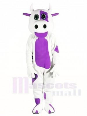 Weiße Kuh mit Purple Belly Maskottchen Kostüme Tier