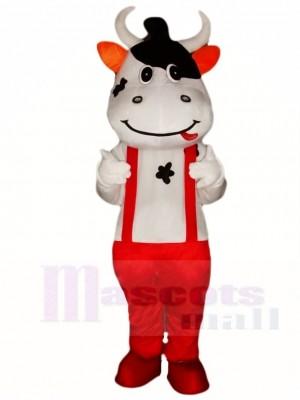 Kuh Maskottchen Kostüme mit rot Overall Tier