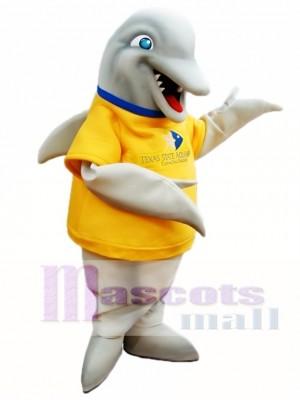 Grauer Delphin mit gelben Shirt Maskottchen Kostümen