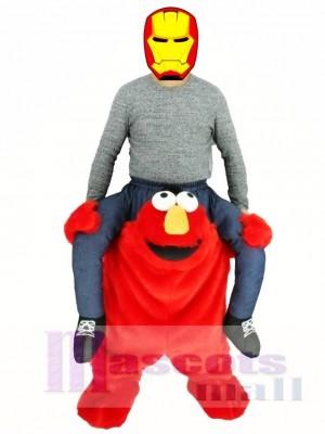 Piggyback Red Monster tragen mich Sesame Street Elmo Maskottchen Kostüm fahren