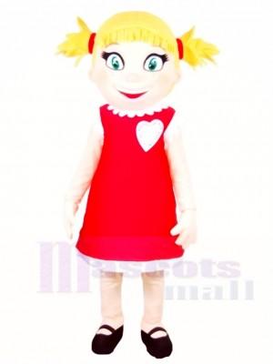 rot Kleid Mädchen Maskottchen Kostüme Menschen