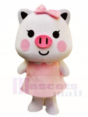 Rosa Schwein mit Bogen Maskottchen Kostüm Karikatur
