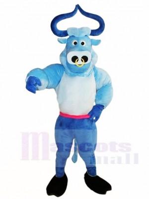 Blaues Muskel Stier Ochse Maskottchen Kostüm Tier