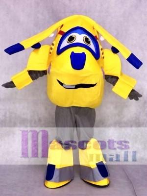 Gelbe und blaue Flugzeug Donnie Super Wings Maskottchen Kostüme Cartoon
