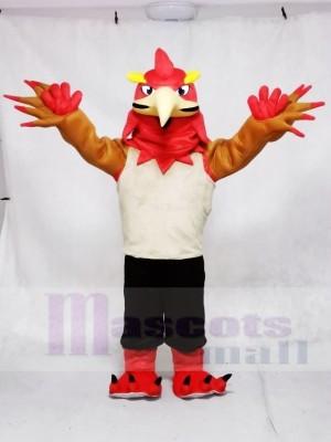 Roter Phönix in Weste und Shorts Maskottchen Kostüme Tier