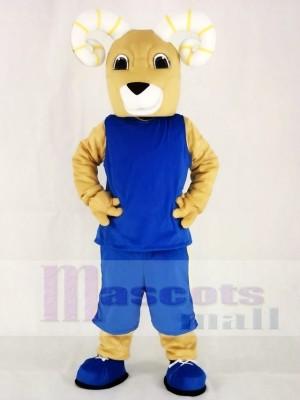 Leistung Sport RAMs im blauen Anzug Maskottchen Kostüm Tier