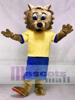 Bobcat Maskottchen Kostüm mit gelbem Hemd und blauen Shorts