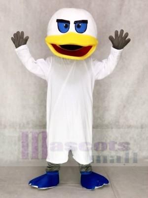 Weiße Ente mit Blaue Flippers Maskottchen Kostüme Tier
