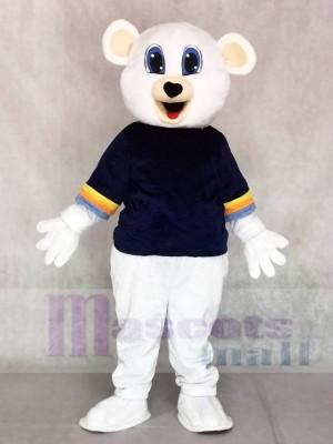 Netter weißer Bär mit schwarzem Hemd Maskottchen Kostüme Tier