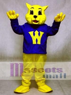 Süße Gewinner Wilde Katze Maskottchen Kostüme im blauen Hemd Tier