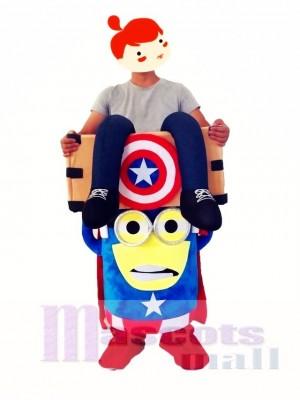 Huckepack tragen Sie mich auf Captain America Despicable Me Minions Maskottchen Kostüm