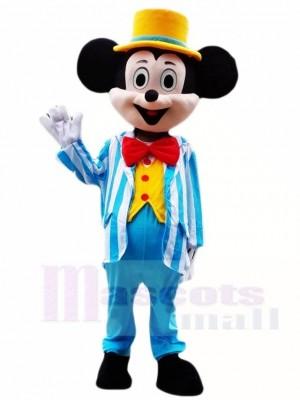 Micky Maus im blauen Smoking und im gelben Hut Maskottchen Kostüme Cartoon