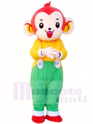Affe im Grün Overall Maskottchen Kostüm Tier