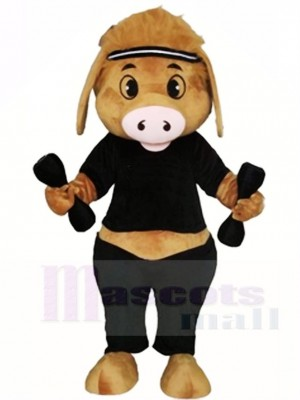 Schwein mit Hantel Maskottchen Kostümen Tier