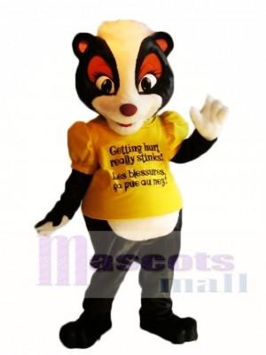 Gelbes Hemd Stella das Sicherheits Stinktier Maskottchen kostümiert Tier