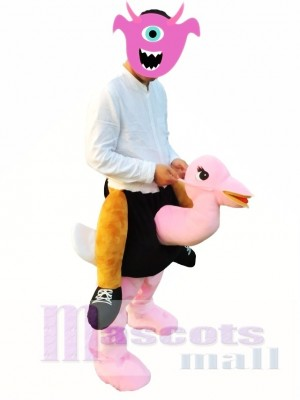 Huckepack tragen mich Fahrt auf rosa Strauß Maskottchen Kostüme