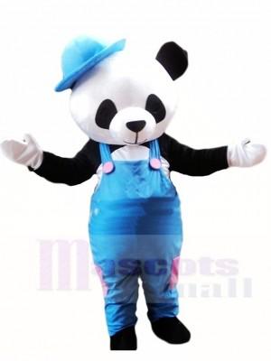 Netter Panda mit blauem Overall und Hut Maskottchen Kostümen Tier
