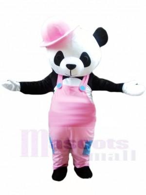 Netter Panda mit Rosa Overall und Hut Maskottchen Kostümen Tier