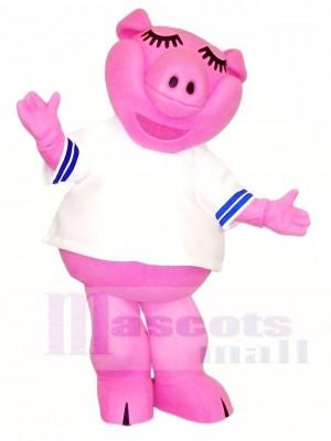 Rosa Schwein im weißen Hemd Maskottchen kostümiert Vieh
