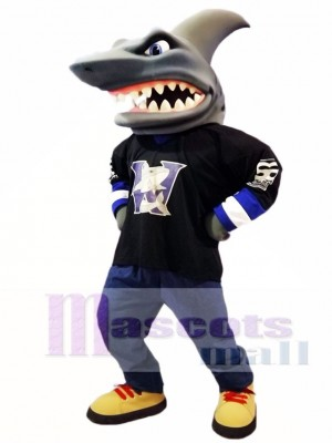 Schwarzes Shirt Hai Maskottchen Kostüm Ozean