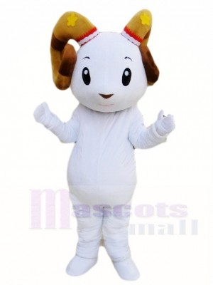 Weißes Schaf Ram Maskottchen Kostüme Tier