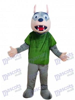 Grauer Wolf im grünen Shirt Maskottchen Kostüm Tier