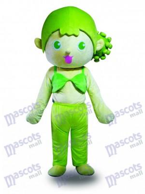 Grünes Haar Mädchen Maskottchen Kostüm Karikatur