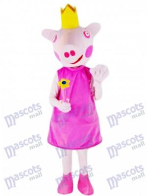 Rosa Schwein Prinzessin Maskottchen Kostüm Bauernhof